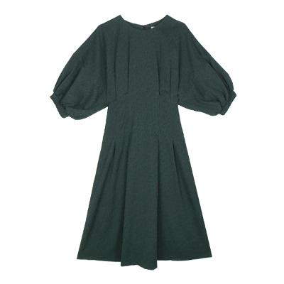 balloon sleeve dress deep green